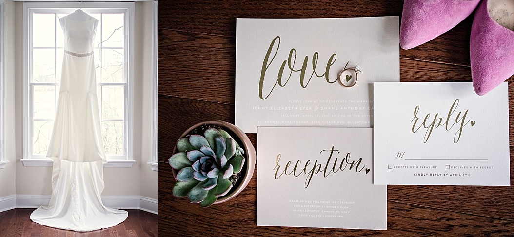 minted wedding invitations with gold lettering