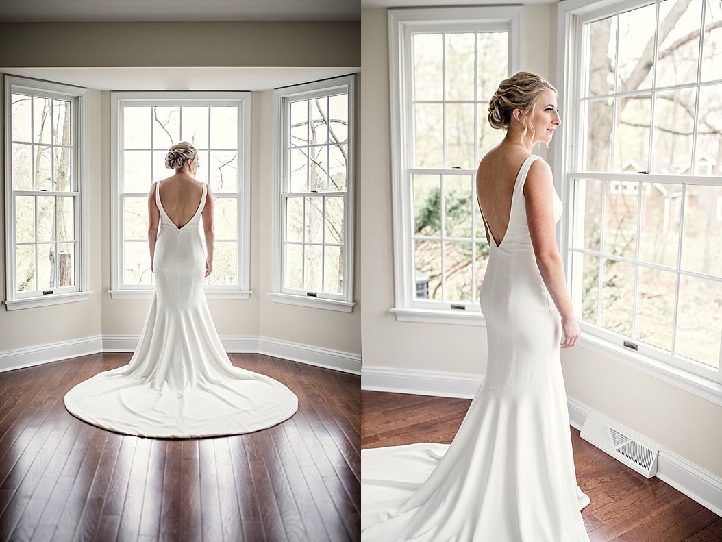 v-neck back wedding dress with round train