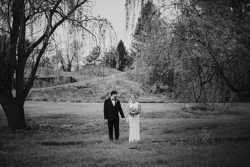 black and white stoic image of bride and groom