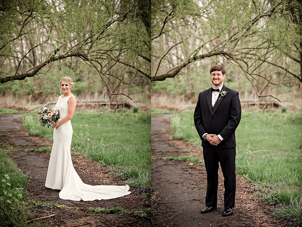 bride and groom portraits side by side