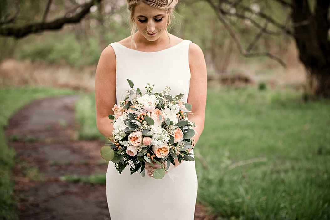 bridal bouquet with peach and cream colors