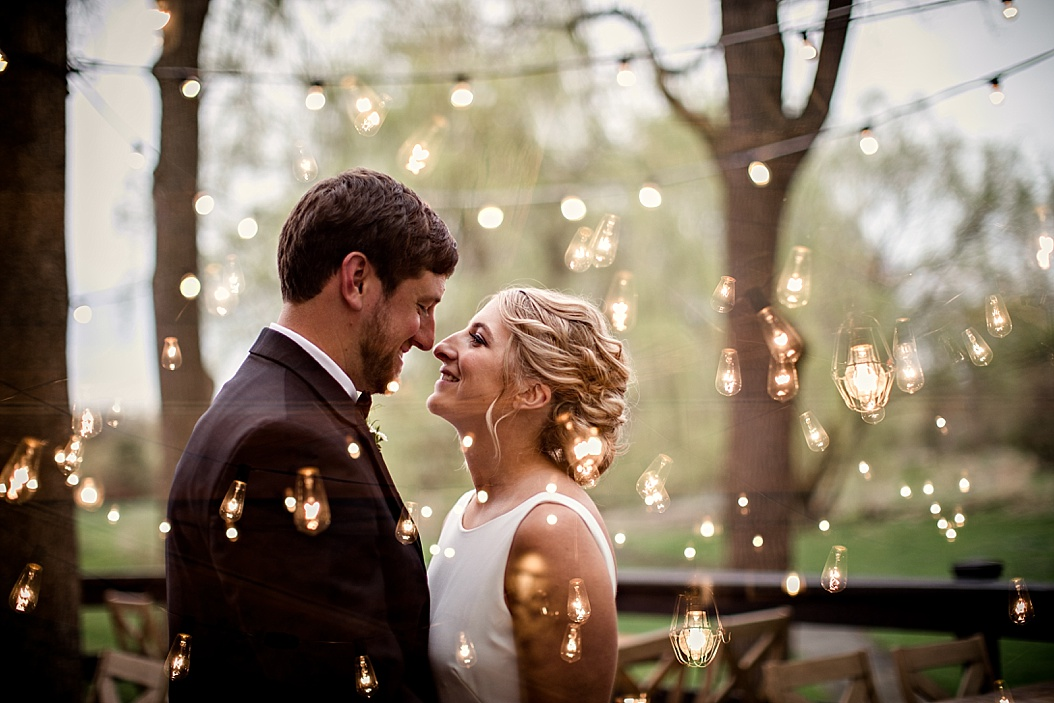 multiple exposure wedding image with lights