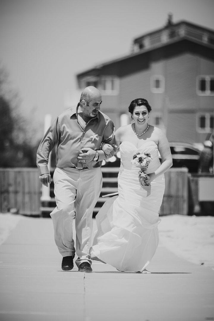 bride walking down long aisle