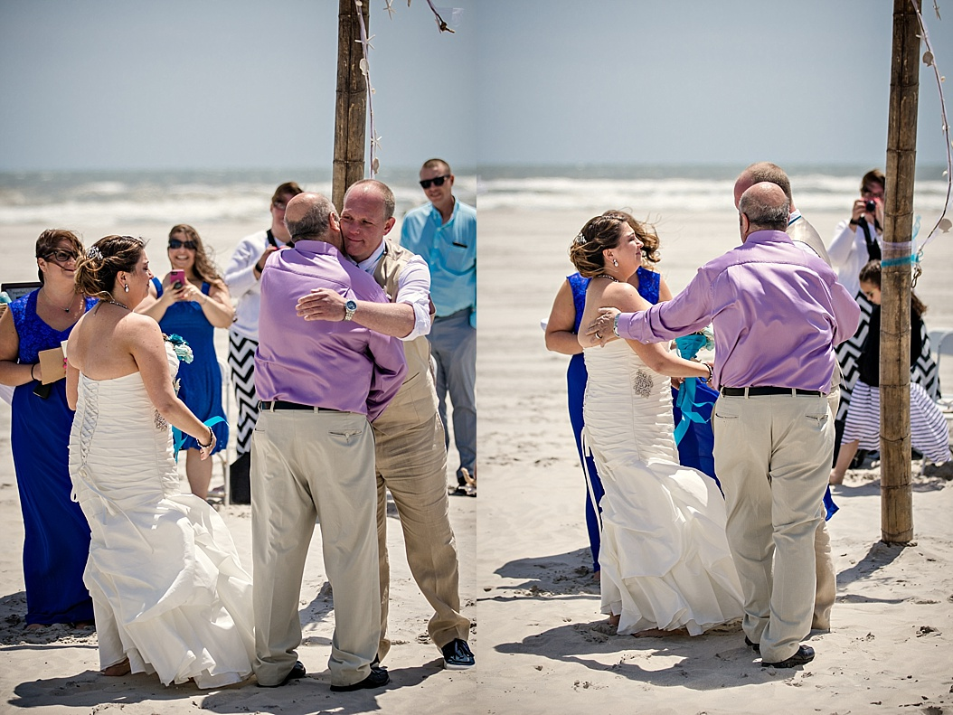 father of bride giving away to groom