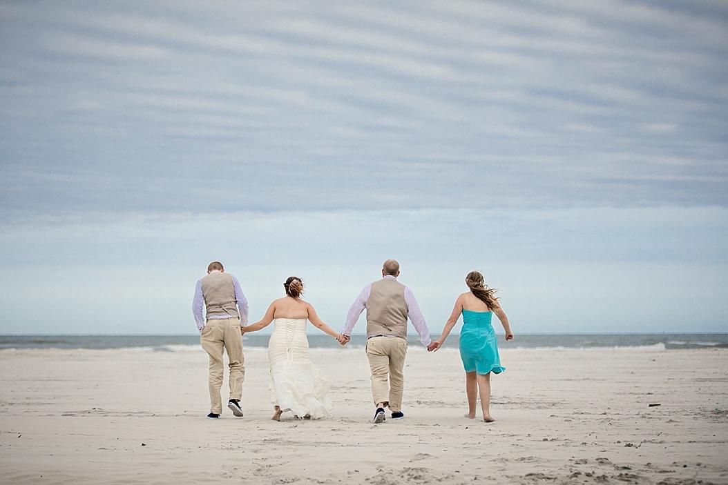 new blended family walking away hand in hand