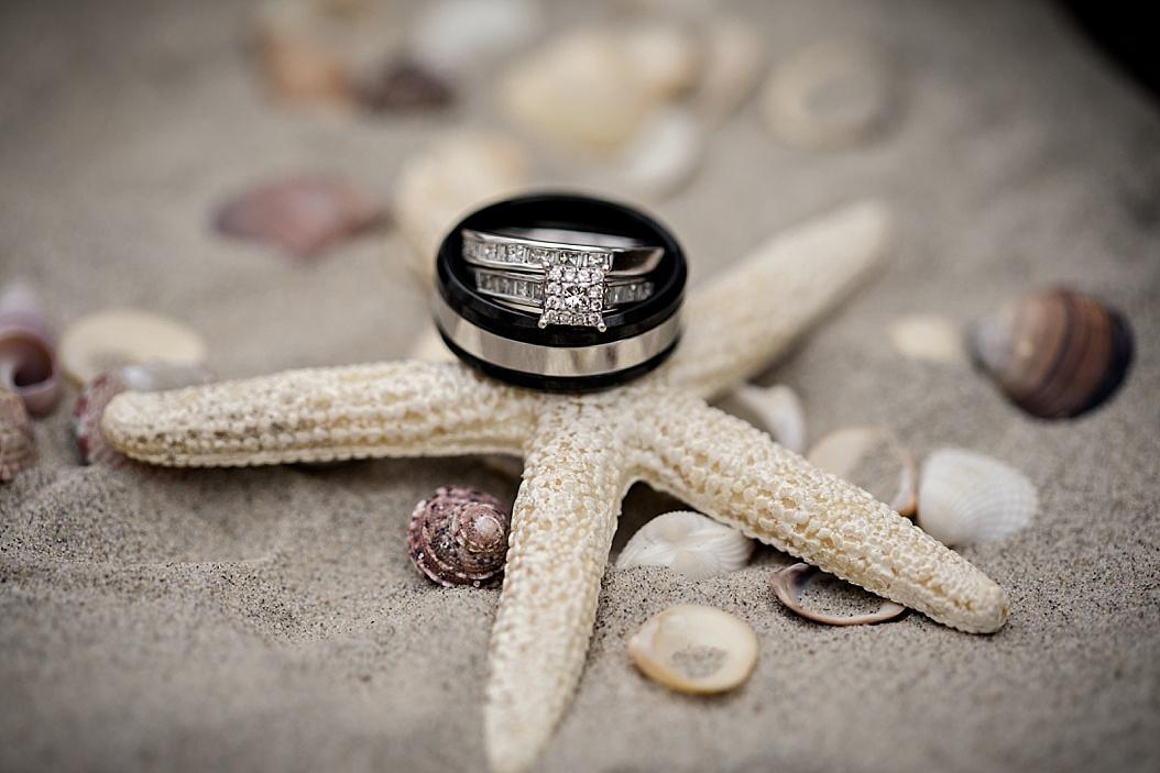 wedding ring shot on starfish