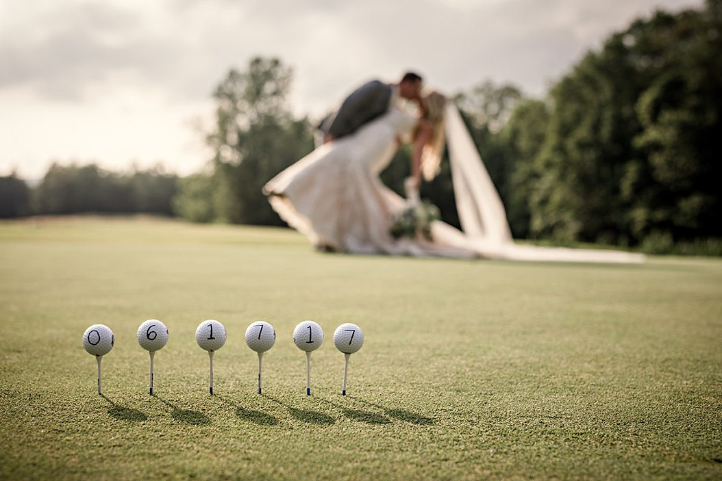 picture of wedding date on golf balls