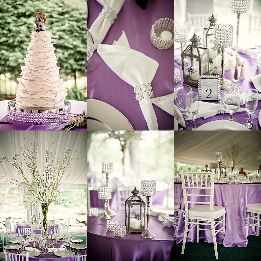 purple, crystal and white reception details