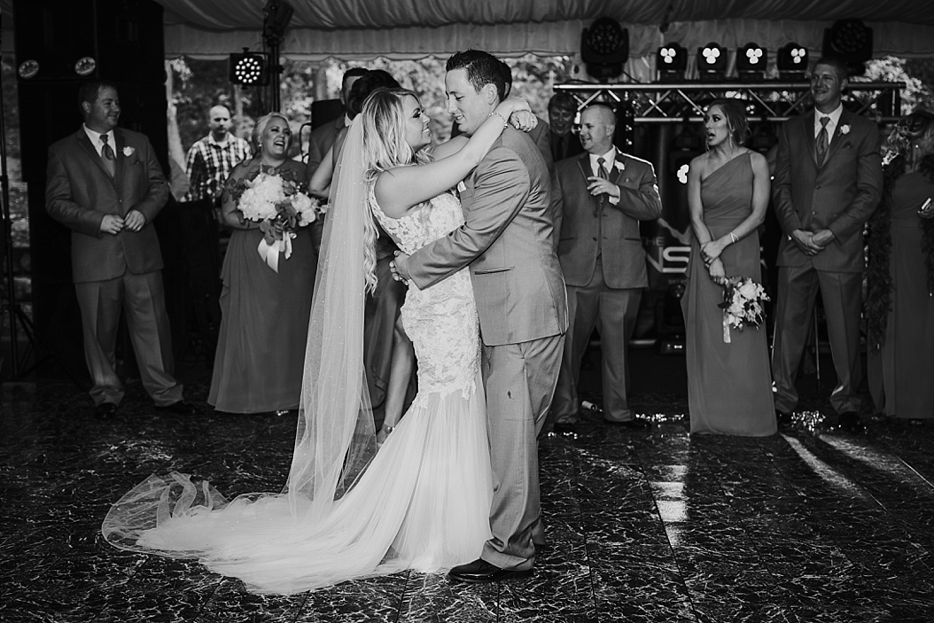 black and white of bride and groom's first dance