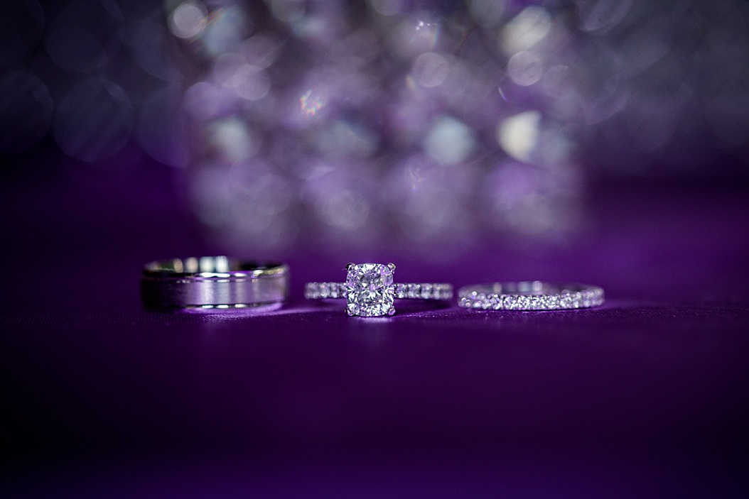 wedding ring shots with purple
