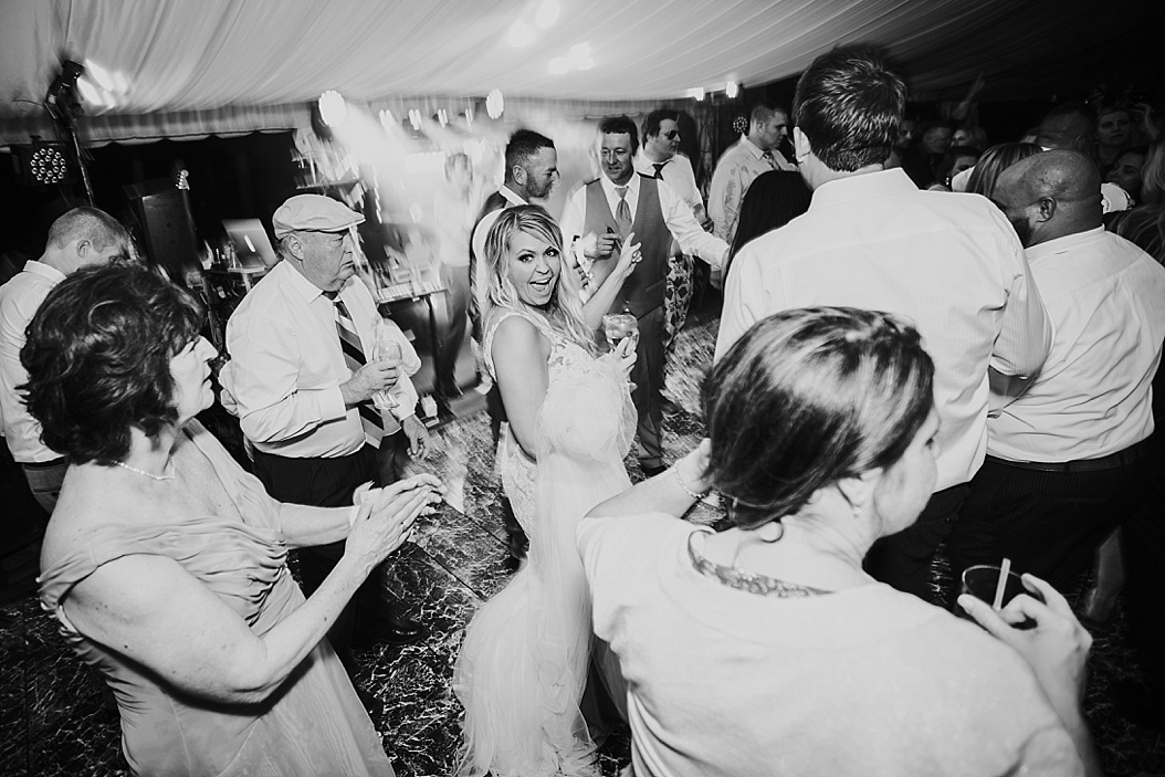 black and white of bride on the dance floor