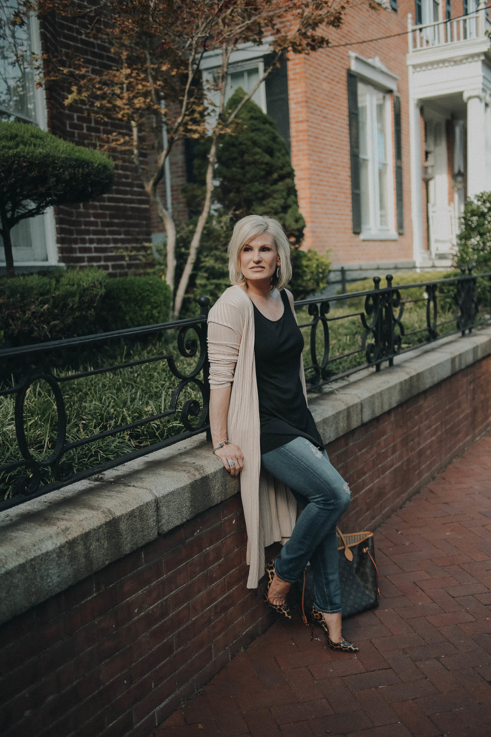 LOOK THREE - Cardigan: Lovers + Friends X Revolve Franklin Duster | Black Tank: Eileen Fisher Scoop Neck Long Tank | Heels: Christian Louboutin So Kate Genuine Calf Hair Half d'Orsay Pump (Not the exact style but very similar) | Handbag: Louis Vuitton Neverf.MM NM Mng Beige
