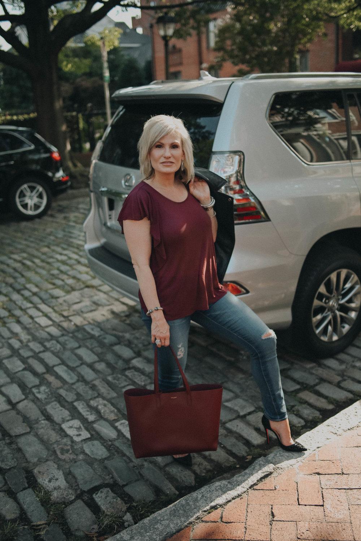 LOOK TWO - Leather Jacket: Topshop Basil Belted Leather Biker Jacket |Top:Hinge Ruffle Tee|Heels: Christian Louboutin Iriza Patent Leather Half D'Orsay Pumps| Handbag: Saint Laurent 'Shopping' Leather Tote|Earrings:Earrings: Kendra Scott Elle' Drop Earrings