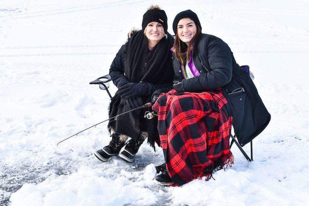 Meet my beautiful daughter, Alex.   Here we are trying to stay warm while ice fishing.