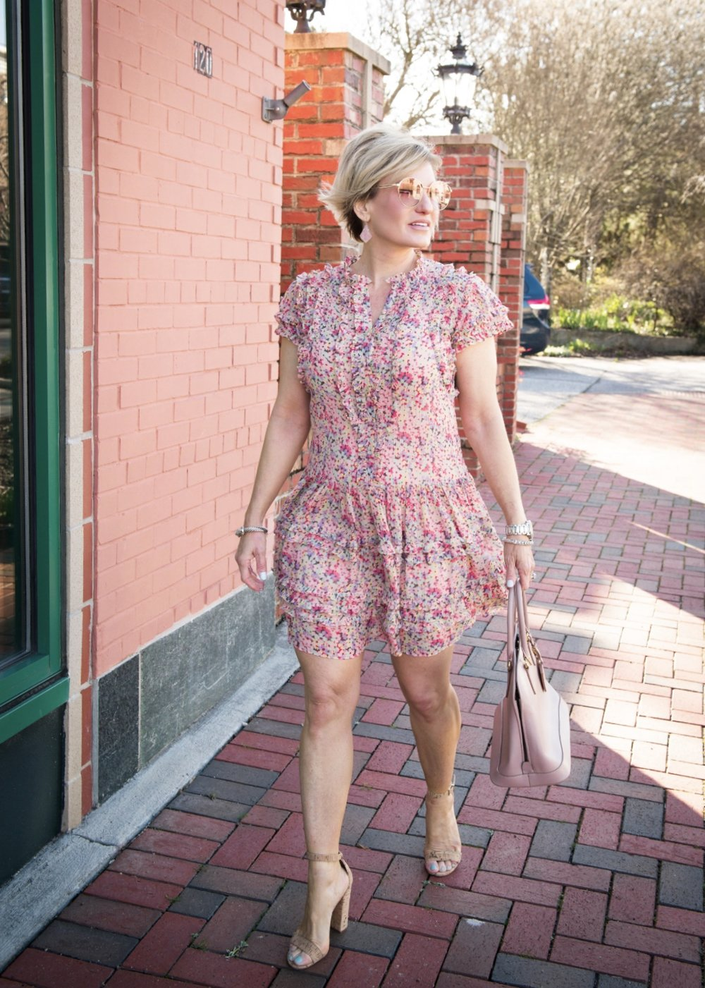 Stepping in to spring with the cutest little floral number perfect for a bridal shower, wedding or garden party. Dress:  here , shoes:  here , handbag:  here  or similar  here ; earrings:  here : sunglasses:  here ; nail polish:  here .