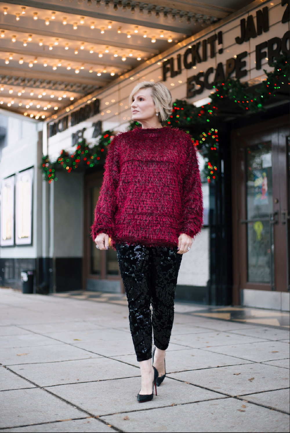 Sequin leggings with a fun colorful sweater for a simple but effective festive look.