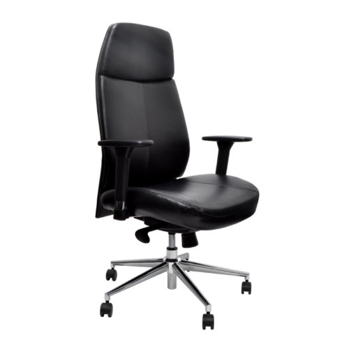 Challenger Chair - Black Leather Challenger chair is one of the impressive and stylish chair which can be use as boardroom chair and office chair.- Backrest angles                                       -Height adjustable arms                                    - High comfortable back                                    - 150kg weight capacity                                    - Adjustable seat height