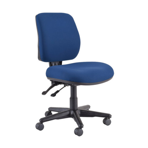 Roma Blue Chair - Roma 2 Lever mid back office chair is fully comfortable for office work. - Adjustable back                                                                                    - Adjustable Seat Height                                                                        - Two Levers                                                                                           - Comfortable Foam Seat                                                                       - Backward/ Forward back feature                                                          - Lockable Adjustments