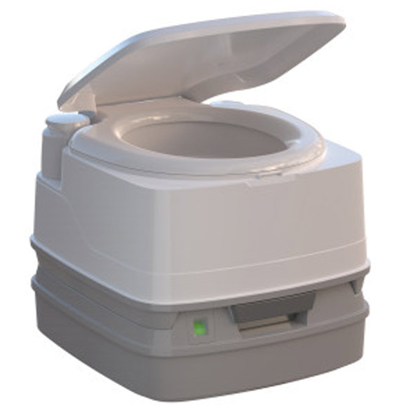 Portable Toilet - Even when off-the-grid, You're never without a toilet.  The Thetford Porta Potti is sanitary, odorless and leakproof.  It has a modern appearance, clean seat and cover design.  Easy to use and Easy to carry with its ergonomic carrying handle. And best thing of all, the compact size is hidden beautifully and mindfully in its custom bamboo cabinet that slides out when needed but otherwise remains stashed away in its secret location.