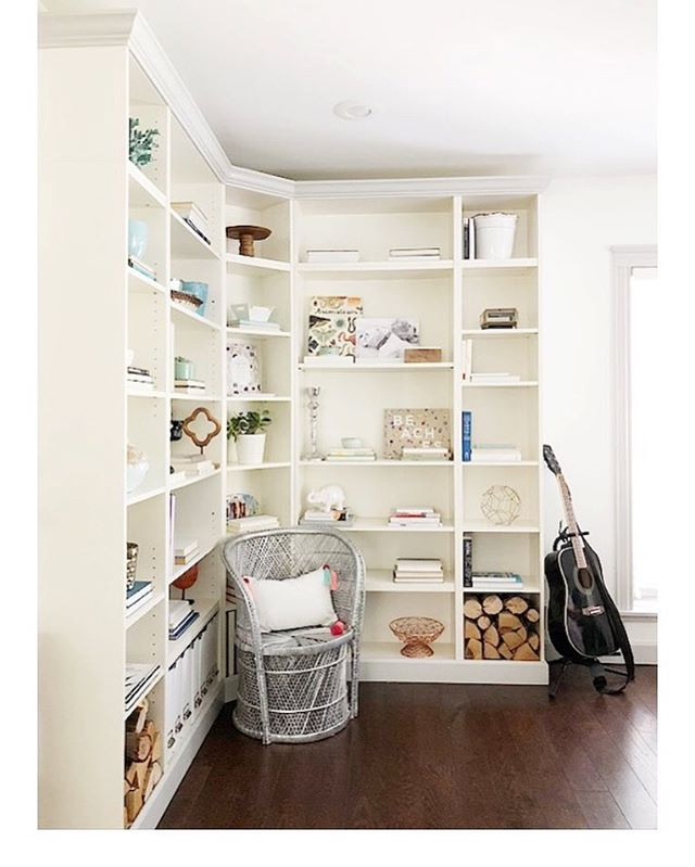 If you are like  me and custom built-ins aren't in your budget, head to Ikea! We used their BILLY bookcases and added crown for a more customized look.  It was the perfect addition to our family room. ⠀⠀⠀⠀⠀⠀⠀⠀⠀⠀⠀⠀⠀⠀ ⠀⠀⠀⠀⠀⠀⠀⠀⠀⠀⠀⠀⠀⠀ ⠀⠀⠀⠀⠀⠀⠀⠀⠀⠀⠀⠀⠀⠀#ikeahack #ikea #billybookcase #shelfie #interiors #style #interiorstylist #affordable #diy #diyer #diyhomedecor #renovating #farmhouse #vintagehome #theeverygirl #sodomino #jorieburnsdesign @dominomag  #myhome #mydomaine #naturallight #instacool #photooftheday #texture #boho #bohostyle #ecclectic #bookstagram #bookshelf #textiles #lonnyliving