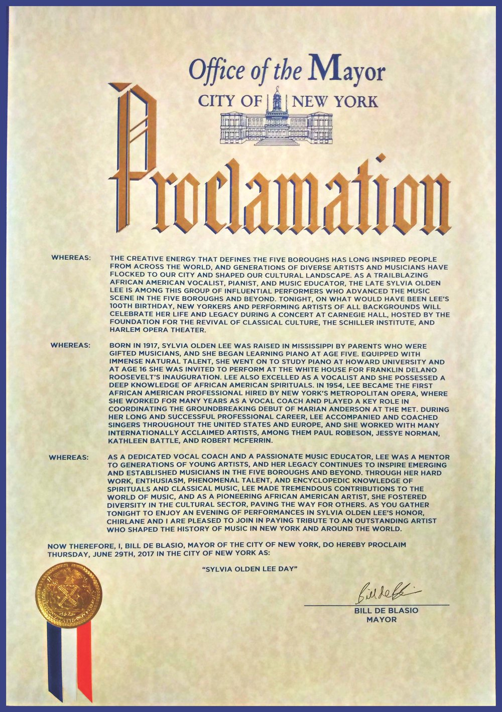 "Proclamation from the Mayor of the City of New York"", declaring June 29, 2017 ""Sylvia Olden Lee Day"""