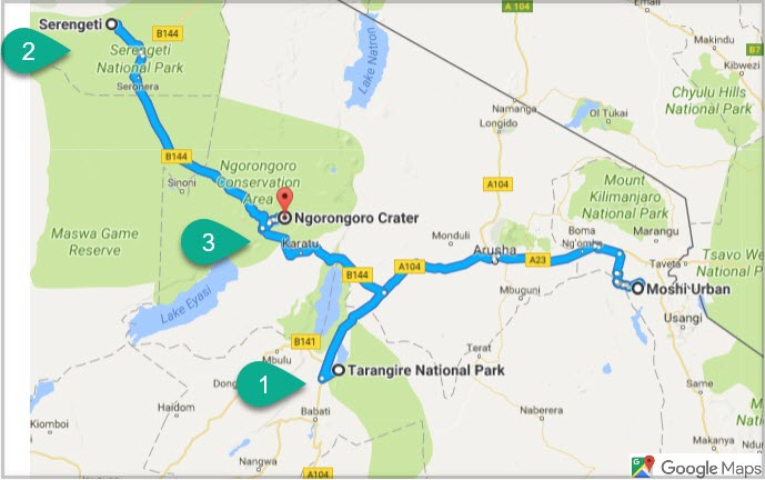 1) Tarangire National Park 2) Serengeti National Park 3)  Ngorongoro  Crater