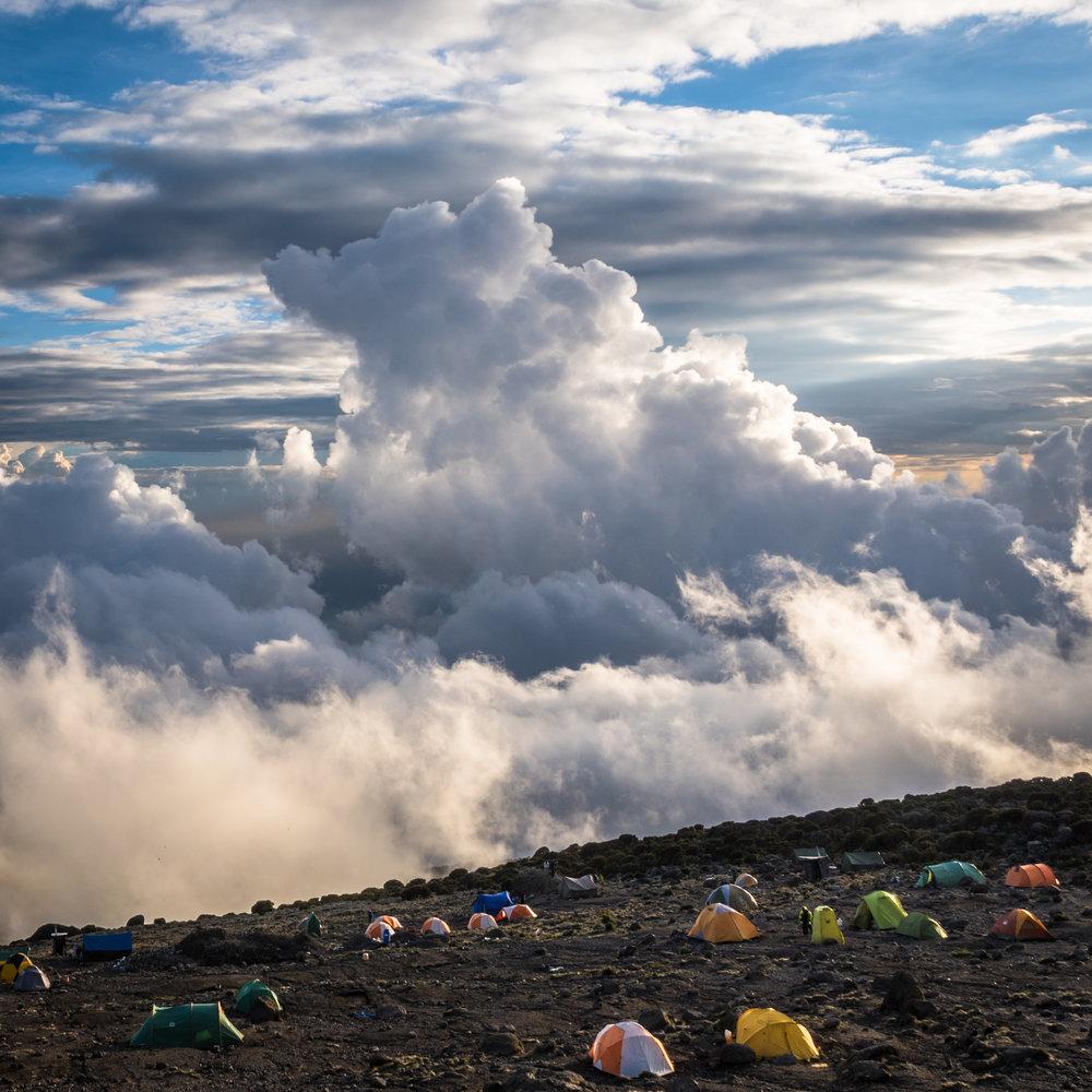 Above the clouds at Karanga Camp