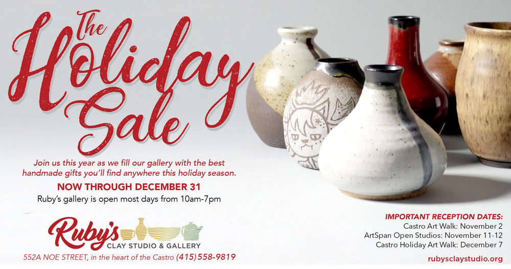 Ruby's Clay Studio & Gallery presents over 20 exhibits each year, and showcases an array of sculptural and functional ceramic work by artists using a variety of clay bodies, glazes, and firing techniques. Gallery exhibitions change about every two to four weeks, except for the annual  Holiday Gift Sale , held the last 2 months of the year. Come visit the gallery, and then wander around the studio to glimpse the many facets of the ceramic process.