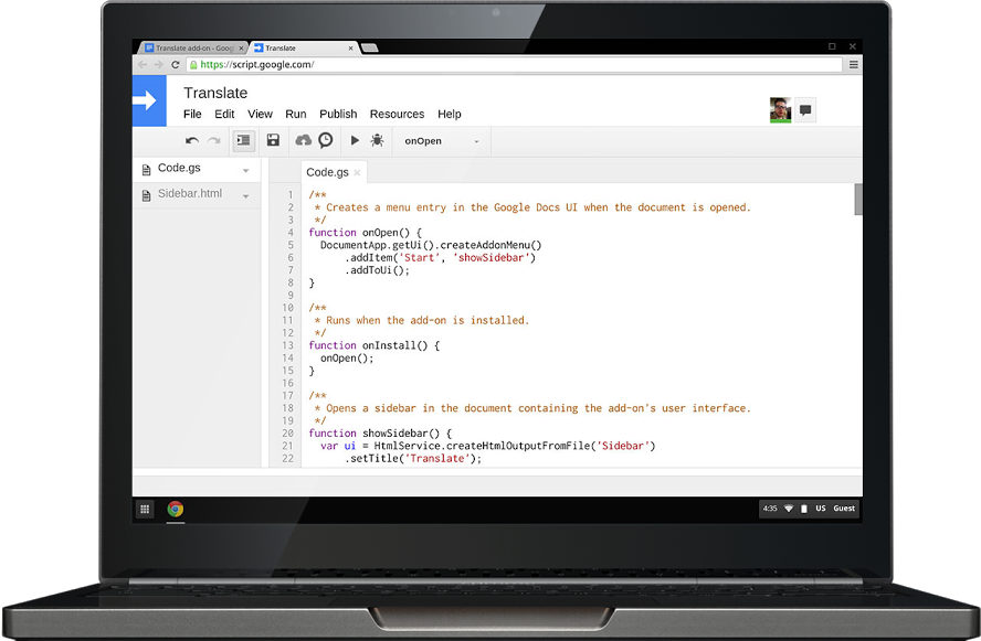 You'll hit the ground running by using Google's awesome JavaScript platform, Apps Script. - Learn Google Apps Script