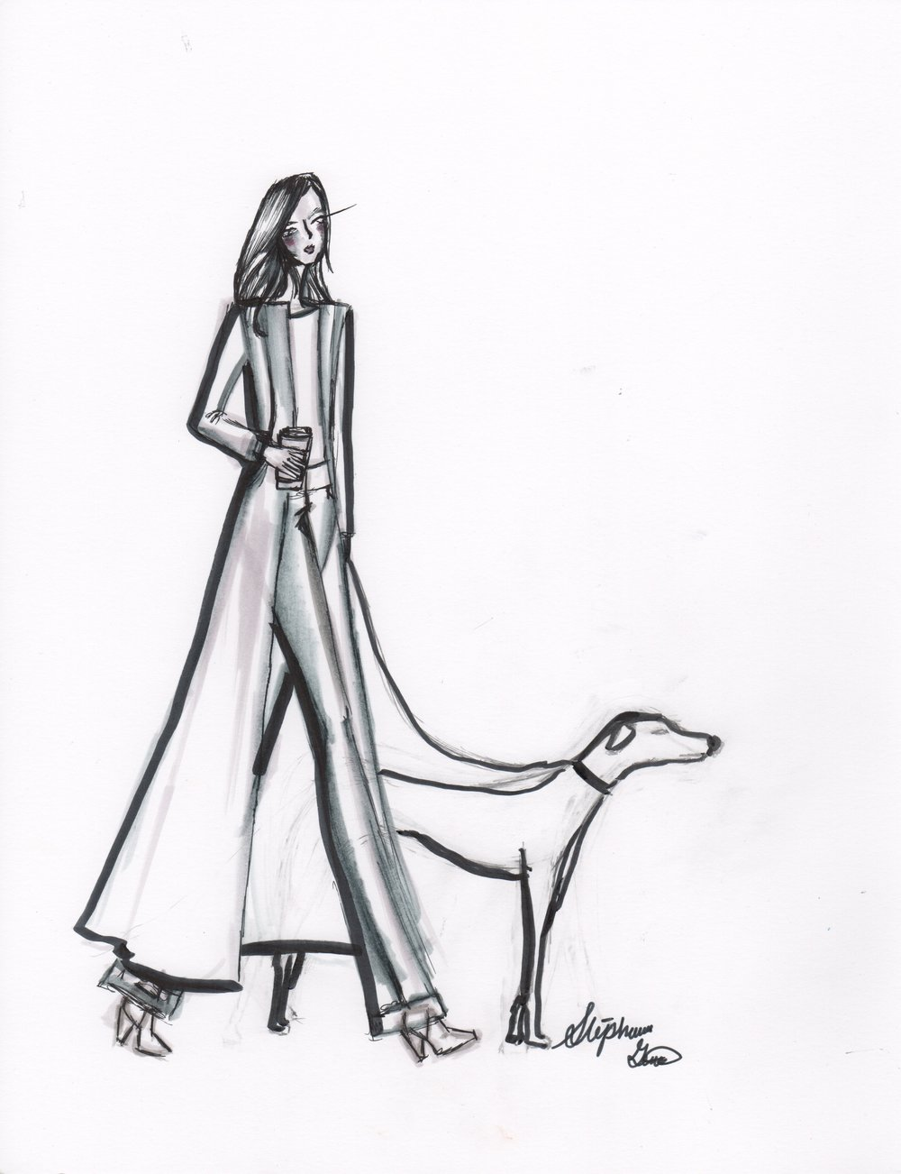Strolling through the park. Fashion Illustration.
