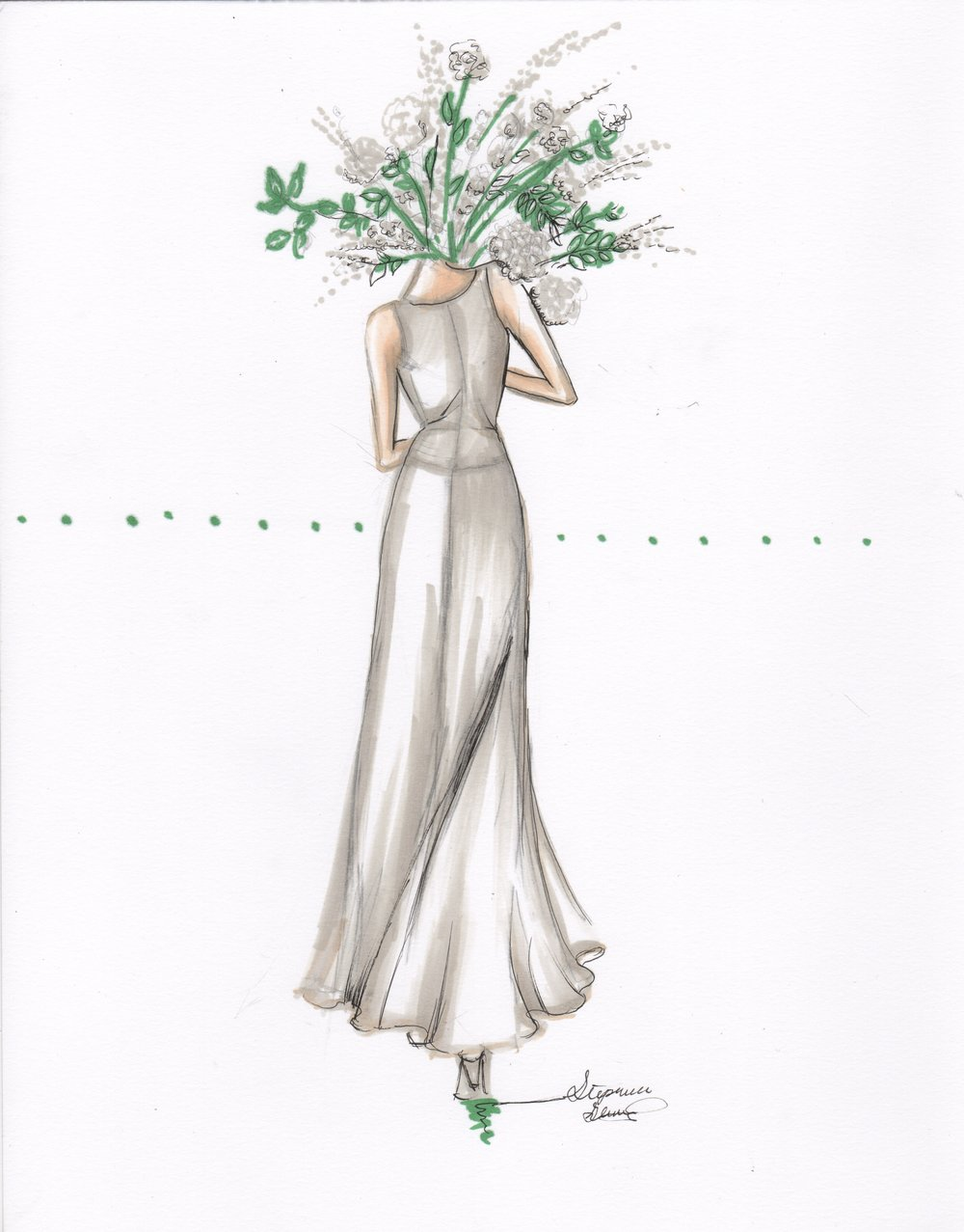 Series of fashion sketches inspired by flowers. This could be a great way to do a more whimsical style for your portrait!