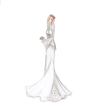 Sample Sketch: Marker Render Note: Kimono Wedding style. Like the look? Ask about custom orders!