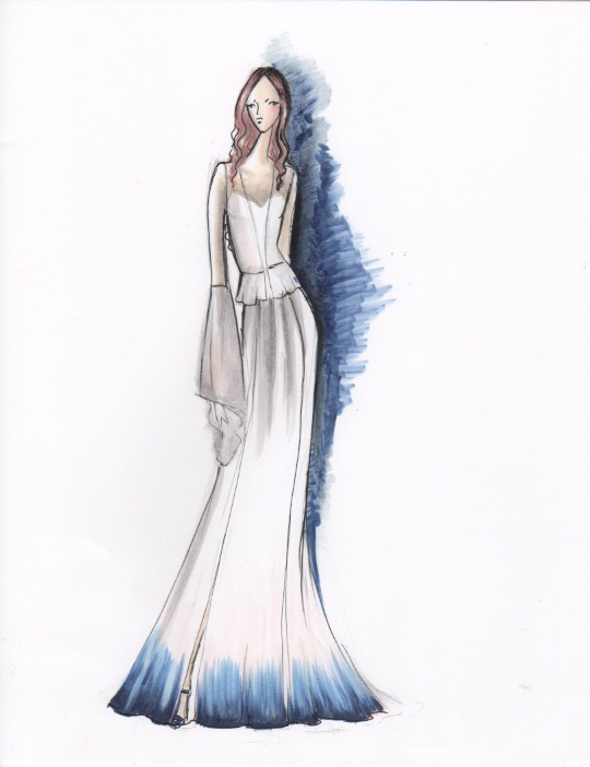 Marker Sketch with a touch of color in the background and on the dress. A great way to add in your wedding color scheme.
