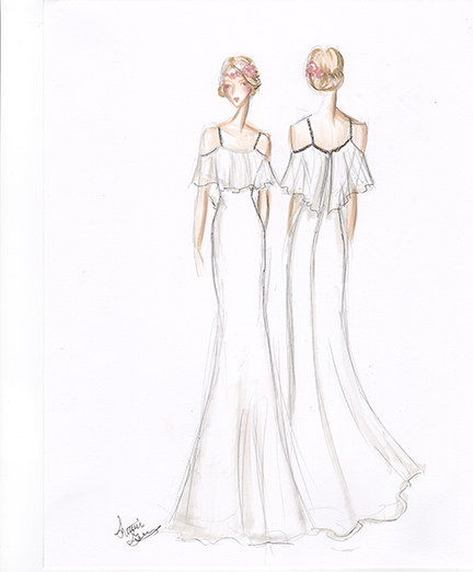 Sample Sketch: Marker Render. Note: Boho Wedding Style. Like the dress? Ask about custom orders!