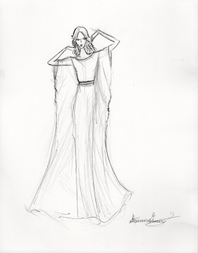 Sample Sketch. Micron Pen. Note: Boho Wedding Style: Like the Look? Ask about Custom orders!