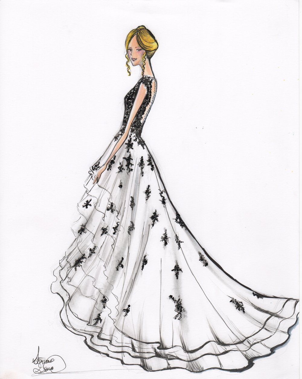 Fashion Sketch Acrylic mixed media for client. Not my dress design.