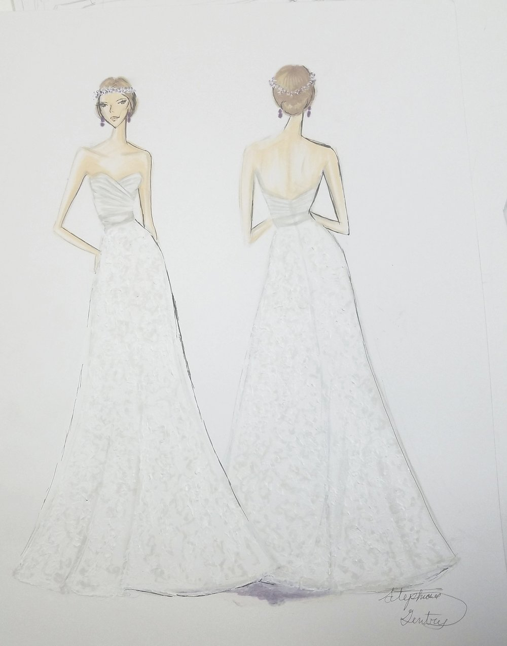 Bridal Fashion Sketch Acrylic Mixed media For Client Dress design Not mine.