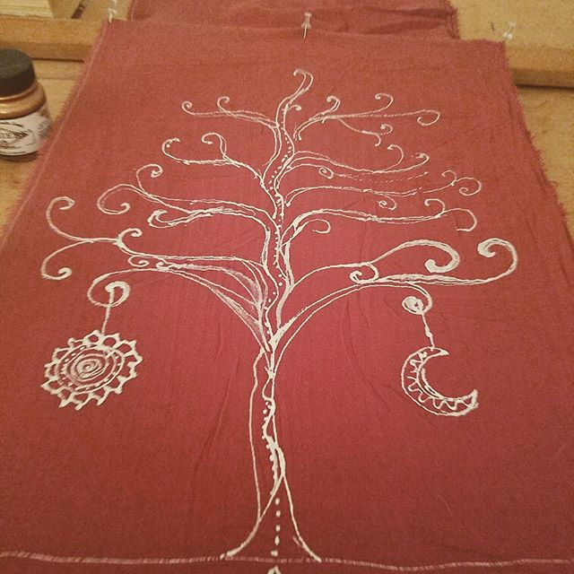 Hand Painted Art Scarf. Tree of life