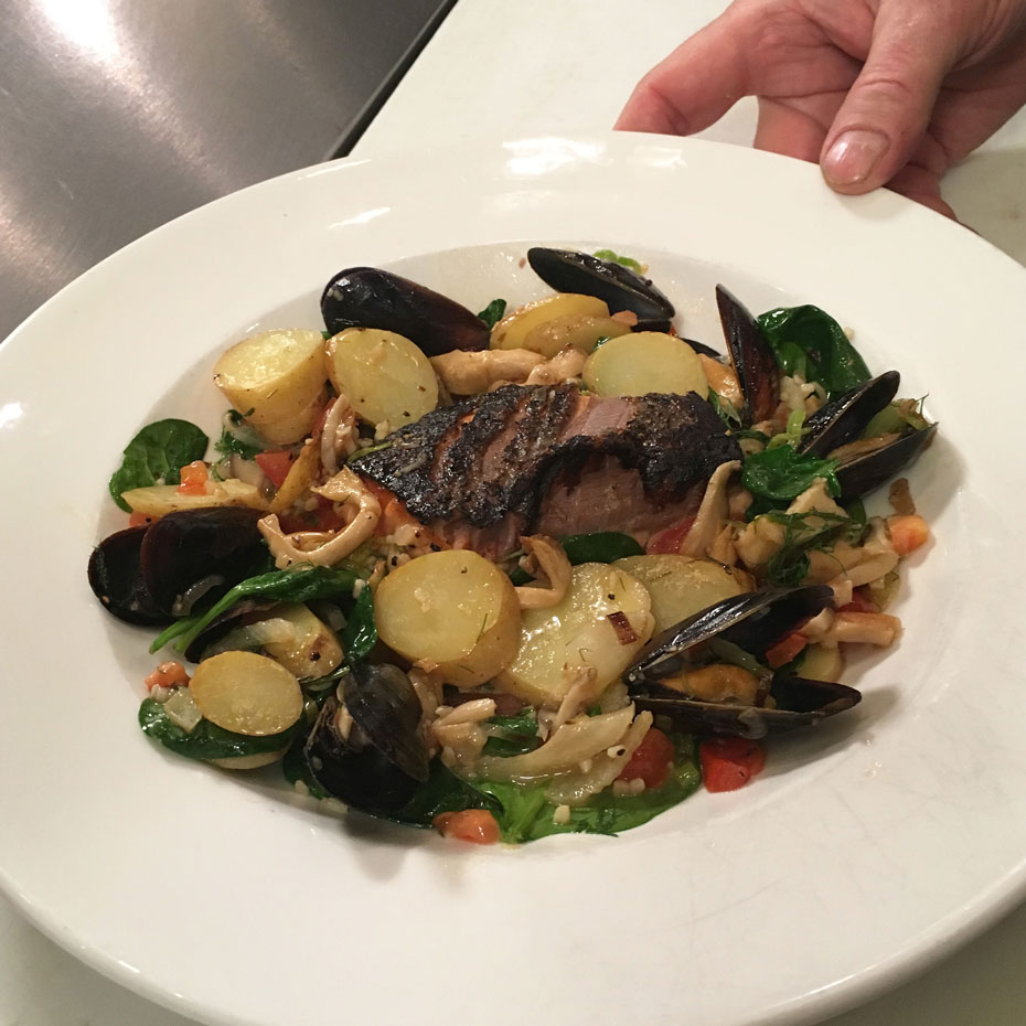 Salmon with Mussel Ragout - Watch David cook it and get the recipe.WCSH's 207, January 25, 2018