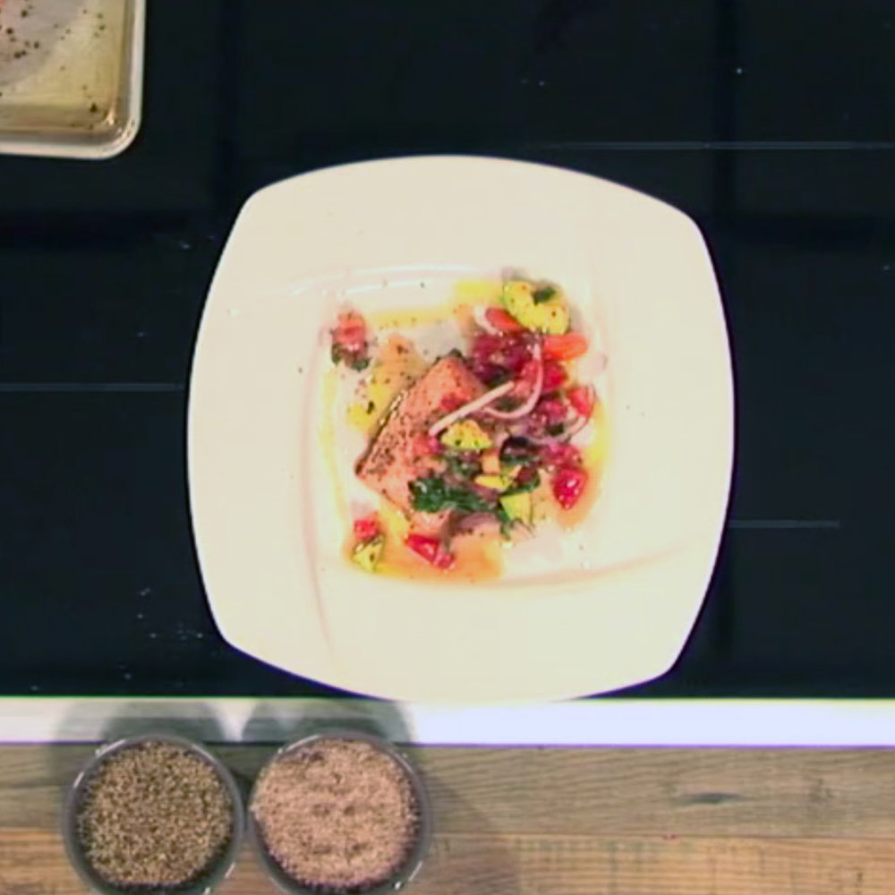 Roasted Salmon withTomato, Avocado, and Basil Chutney - Watch David cook it and get the recipe.WCSH's 207, July 2, 2108
