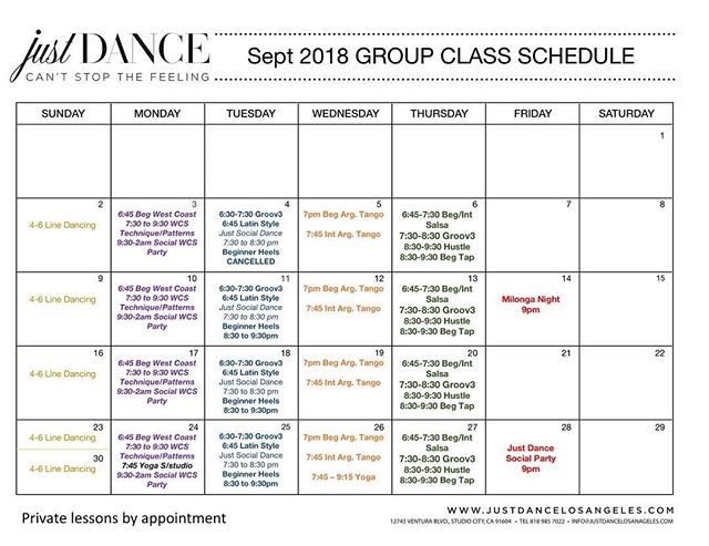 Happy Fall 🍁🍂we have a whole new schedule with new classes, times and prices! Can't wait to see you there! #newschedule #fall #justdancelosangeles #septembercalendar