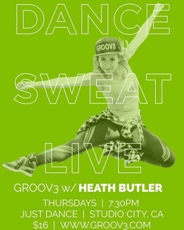 New @groov3dance #class here @justdancelosangeles every #Thursday 7.30pm with @heathbutler come join us tomorrow and get #sweaty #dance #fitness #workout #studiocity #losangeles #dwts #fitfam #dancefitness