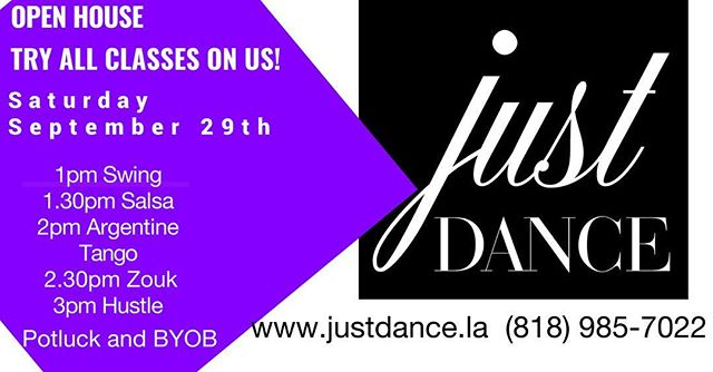 Come to our #open #house and try all our #new #dance #classes on us!!! September 29th from 1pm. Try one or try them all. #potluck and #byo #swing #swingdance #salsa #argentinetango #tango #zouk #zoukdance #hustle #hustledance #studiocity #losangeles #dwts come on down and dance!