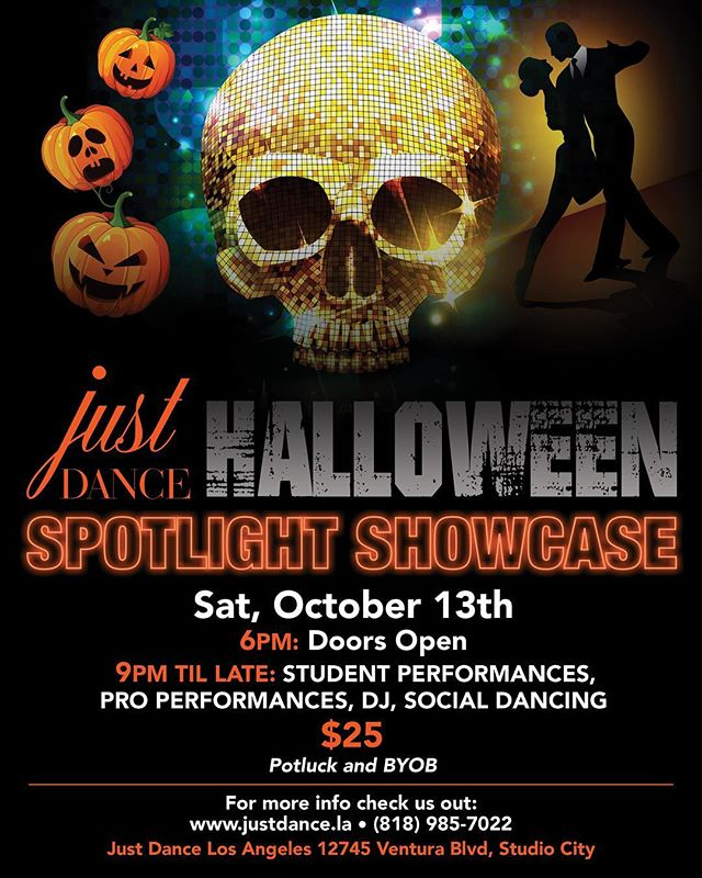 Come on down to our annual #Halloween #showcase  lots of performances and social dancing to be had! You must dress up! Jump online to grab your ticket! Or come on in and see us! October 13th. Doors 6pm -bring your own bottle- and potluck! Prizes for best dressed!! #dance #studiocity #dwts