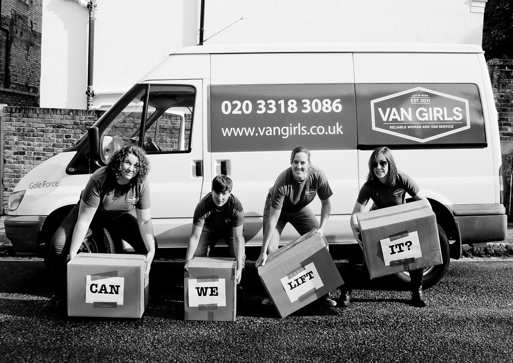 Van Girls with Boxes   Women's Magazine Feature