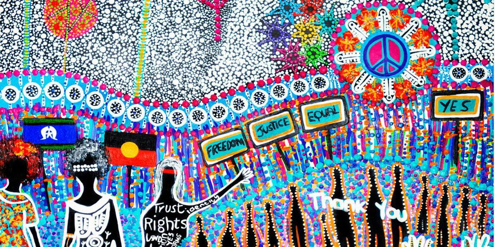 Painting by Cheryl Moggs, a proud descendant of the Bigambul people of Goondiwindi, Bungunya and Toobeah regions in South West QLD for NAIDOC week 2018.