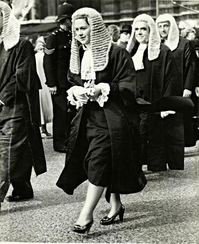 Rose Heilbron processing from Westminster Abbey to Parliament in October 1950, courtesy of Liverpool Echo