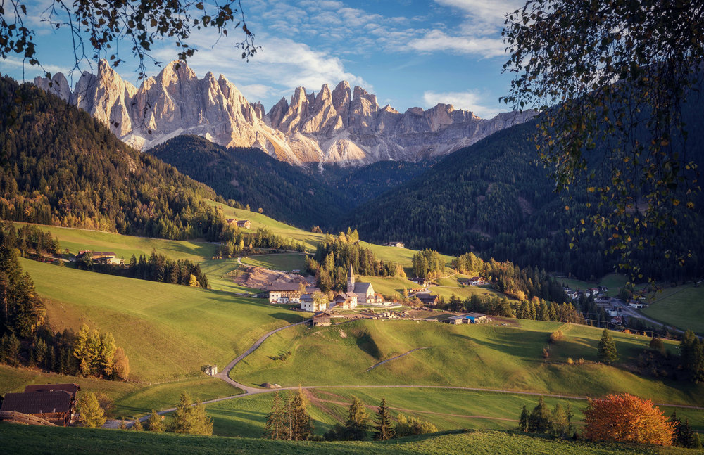 Val di Funes on a beautiful evening in autumn.