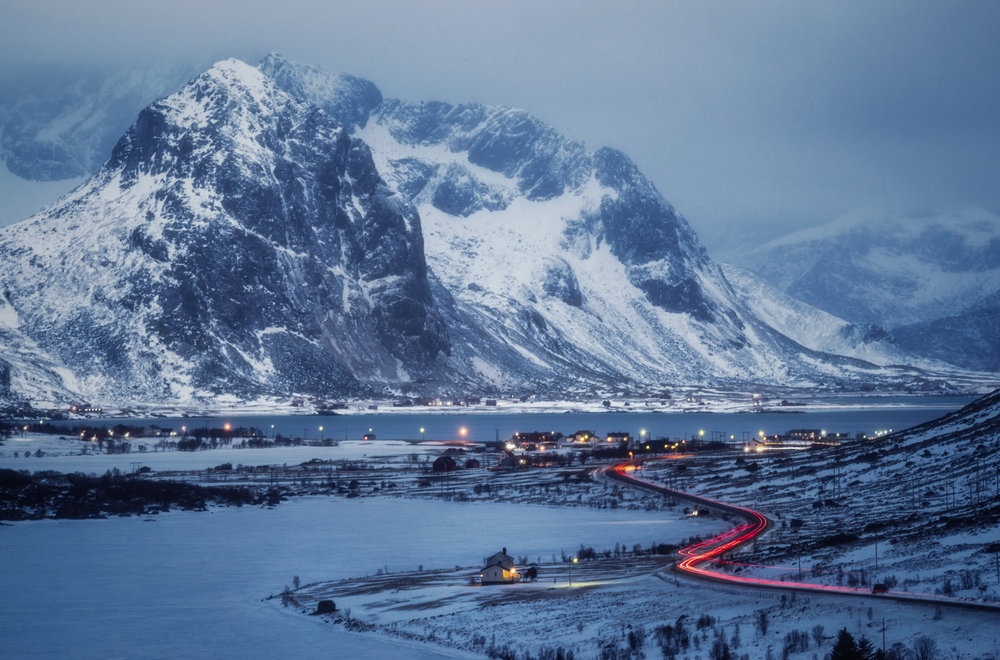 The roads in Lofoten are simply breathtaking. Even during blue hour.