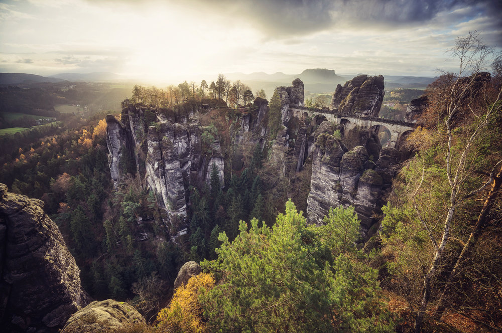 Sunrise at the famous Basteibrücke in Saxon Switzerland.